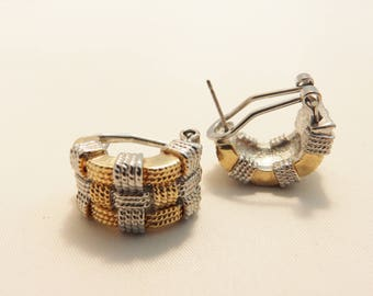 Silver and Gold Woven Pattern Vintage Lever Back Earrings