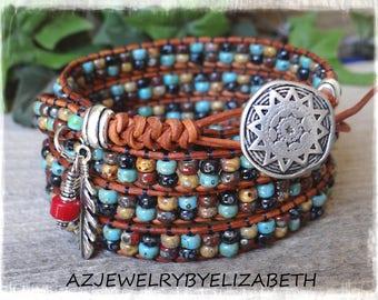 Beaded Wrap Bracelet/ Leather Bracelet Southwestern Style For Men And Women/ Seed bead Leather Wrap Bracelet/ Leather Bracelet.