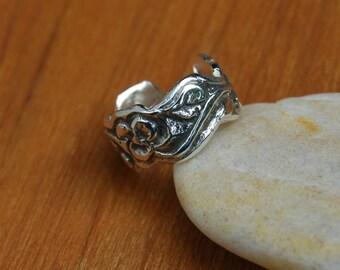 Flower Garden Pierced Ear Cuff 6mm Sterling leaves vines lobe inner conch Piercing earring