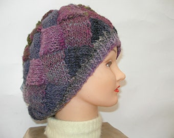 Knitted Green, Purple and Pink Slouchy Hat, Knitted Entrelac Hat, Colorful Womens Knitted Hat