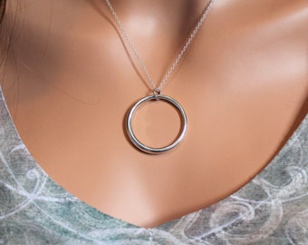 Sterling Silver Hollow Circular Pendant Necklace, Large Circular Statement Necklace, Silver Circle Pendant Necklace, Statement Necklace