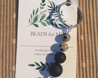 Aromatherapy diffusing key ring - lava beads and gemstones.