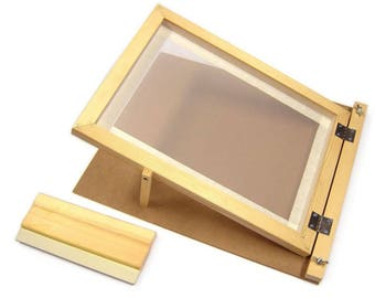 A4 Mesh Screen Printing Wooden Frame with Squeegee & Backplate for Print Making