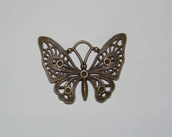 large Butterfly charm bronze 48x36mm