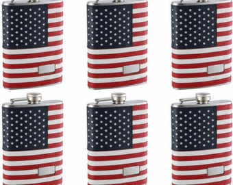 8oz Personalized American Flag Flask 6 pack
