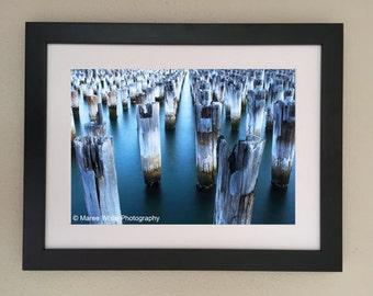 Old Sentries, Landscape photography, Sea, Fine Art print, Ready to frame, Water, Old Pier, Blue, Sea, Australia, Ocean,