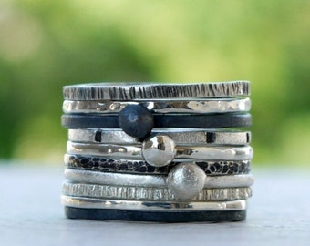 Stacking silver rings set of 3 , hammerd  made of sterling silver - Choose any 3 from hammered