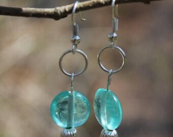 Pink Glass Teardrop Bead and Aqua Glass Bead Earrings
