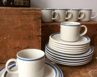 Arabia/Trio/Set of 6/arabia/Lagun/coffee cups/saucers/ plates/ Finnish design/Isokruunu