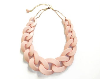 Huge Statement Link Necklace, Pink Oversized Chain Necklace, Oversized Chain Necklace in Blush Pink