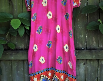 Pink tropical print dress