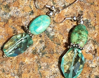 Aquamarine and turquoise earrings
