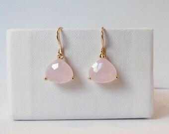 blush earrings gold, blush pink earrings, blush earrings, blush drop earrings, blush and gold earrings, bridesmaids gift, blush jewelry
