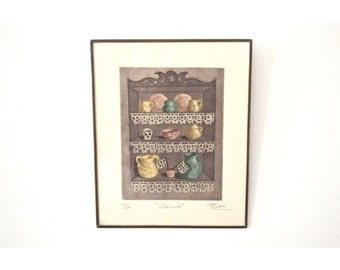 "Teacups and a Skull -- Cupboard ""Alacena"" Signed Numbered Print"