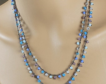 Blue Necklace, Blue Beaded Necklace, Crystal Necklace, Double Strand Necklace, Multi-Color Necklace, Beaded Necklace
