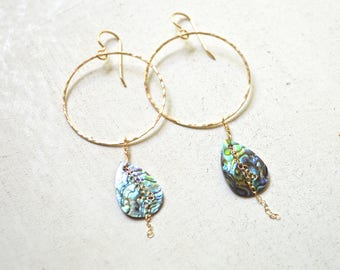 Paua shell earrings, Gold hoop earrings, Paua hoop earrings, Gold chain hoop earrings