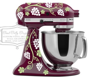 Kitchen mixer decal - grapevine decal- Wine kitchen mixer decal set- grape vine decal - stand mixer decal