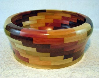 Wooden Bowl, Unique Large Wood Bowl, Segmented Wood Bowl, Fruit Bowl, Handmade, Hand Turned Centerpiece,  Beautiful wood Bowl