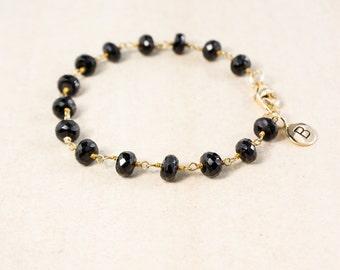 Black Onyx Bracelet – Add Your Initial Charm