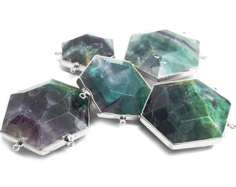 Large Rainbow Fluorite Hexagon Double Bail Pendants with Electroplated Silver Edge (S94B23-05)