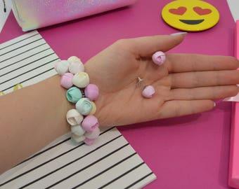 Flower handmade bracelet, roses bracelet, princess bracelet, gift for her, Christmas gift, birthday gift, Bracelet with earrings