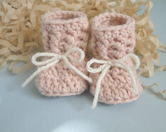 Grandparent Pregnancy Announcement, Baby Girl Reveal, For Daddy, 0-6 weeks old, Baby Booties, Baby Shower, Baby Gift, Hemp Blended  Yarn