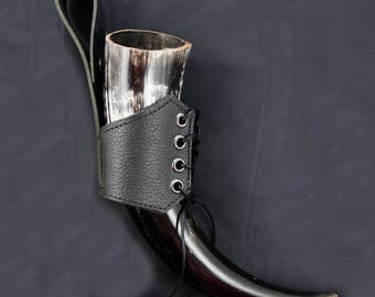 Buffalo Drinking Horn with Leather Holster Viking Pagan Reenactment Norse Biker Festival Gift for Him Gift for Her