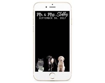 Custom Pet Wedding Snapchat Filter - Dog Cat Geofilter - Dog Wedding Snapchat - Cat Wedding Geofilter - Custom Pet Geofilter