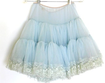Vintage Soft Baby BLUE Petticoat / Crinoline / Sheer Nylon and Lace Tutu / Full Circle Skirt / Rockabilly / Malco Modes Square Dance Skirt