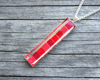 Red mosaic pendant, red mosaic necklaces, red resin necklaces, red scarlet necklace, Colorsite