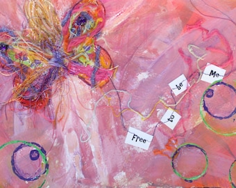 Free to be Me, 8x10 print of original mixed-media painting