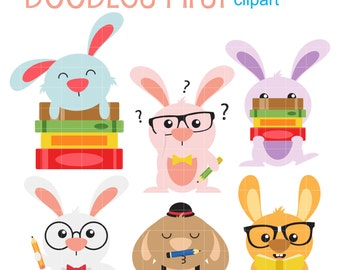 Smart Bunnies Digital Clip Art for Scrapbooking Card Making Cupcake Toppers Paper Crafts