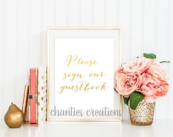 Please sign our Guestbook Wedding Sign Guest Book Wedding. Sign Our Guestbook. Wedding Table Signs. Wedding Sign. Reception Sign. Gold Foil
