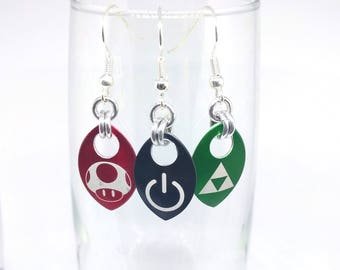 Video Aluminum Scale Earrings - Choice of 3 Designs