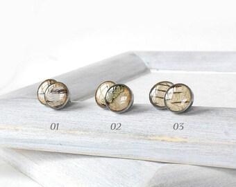 Post earrings for men anniversary gift-for-him jewelry for men birthday ideas for him earrings for boyfriend gift Unisex earrings Birch bark