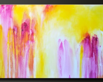 Citrus Splash - 30 x 48 - Abstract Acrylic Painting - Huge Contemporary Wall Art- On Sale