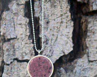 Wine Cork Pendant Necklace • genuine wine stained cork in silver bezel frame • recycled jewelry • Wine cork Jewelry • minimalist •