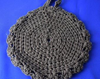 Pot trivet in pure cotton / cotton pot holders / dark brown