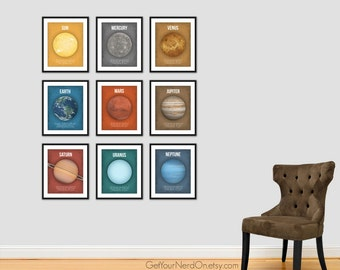 Set of 9, Planet Posters, Astronomy Print, Science Nursery Art, Outer Space Decor, Best Seller