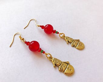 Snowman Earrings, Jade Earrings, Handmade Earrings, Christmas Earrings, Green and Red Earrings, Festive Earrings, Snowmen Earrings