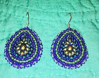 Beaded Rhinestone Pow Wow Earrings