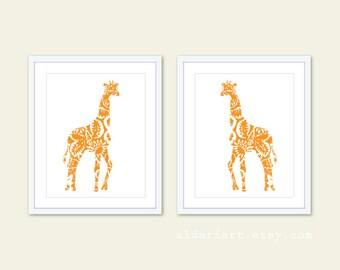 Giraffe Art Prints - Set of 2 - Floral - Giraffe Wall Art - Home Decor - Orange - African Animal