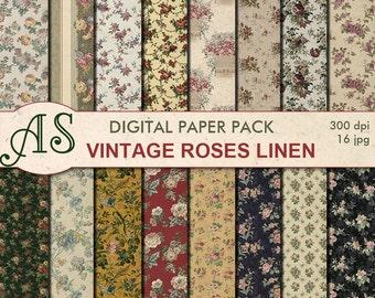 Digital Vintage Roses Linen Paper Pack, 16 printable Digital Scrapbooking papers, floral Digital Collage, Instant Download, set 264