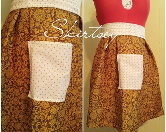 Brown Paisley and Polka dot Half Apron