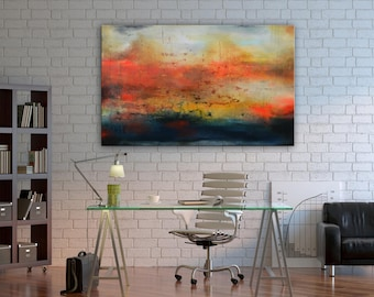 Red abstract painting ready to hang, gray ultramarine blue orange original abstract art, abstract landscape, office lobby art decor