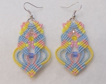 Beaded  Micro Macrame Earrings Yellow Pink & Blue