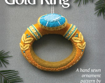 Gold Ring PDF pattern for a hand sewn wool felt ornament