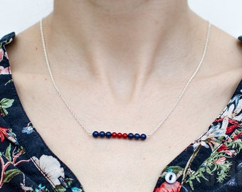 Sterling silver, lapis lazuli and red coral necklace. Silver chain lapis lazuli necklace. Summer blue and red pendant. Delicate necklace.