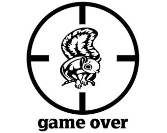 Squirrel Hunter Decal , Squirrel Hunting Sticker , Small Game Hunter Game Over Decal