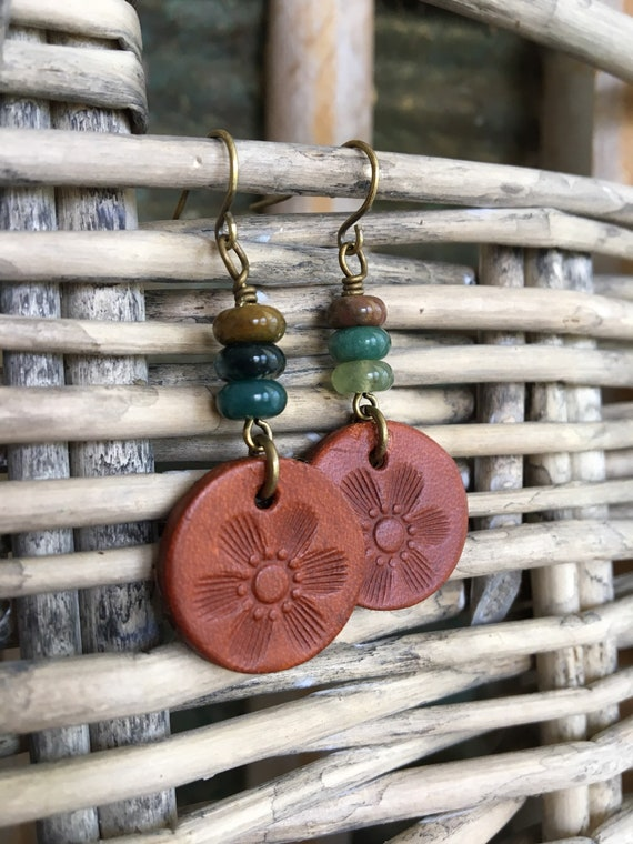 Leather Circle Earrings - Bohemian Dangles with Flower Stamped Leather Disc & Agate Beads - Natural Jewelry, Small Lightweight Earrings
